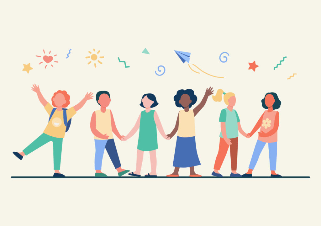 Cartoon of young people having a fun together in a line